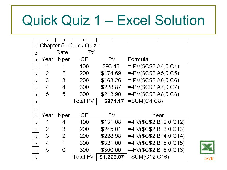 5-26 Quick Quiz 1 – Excel Solution