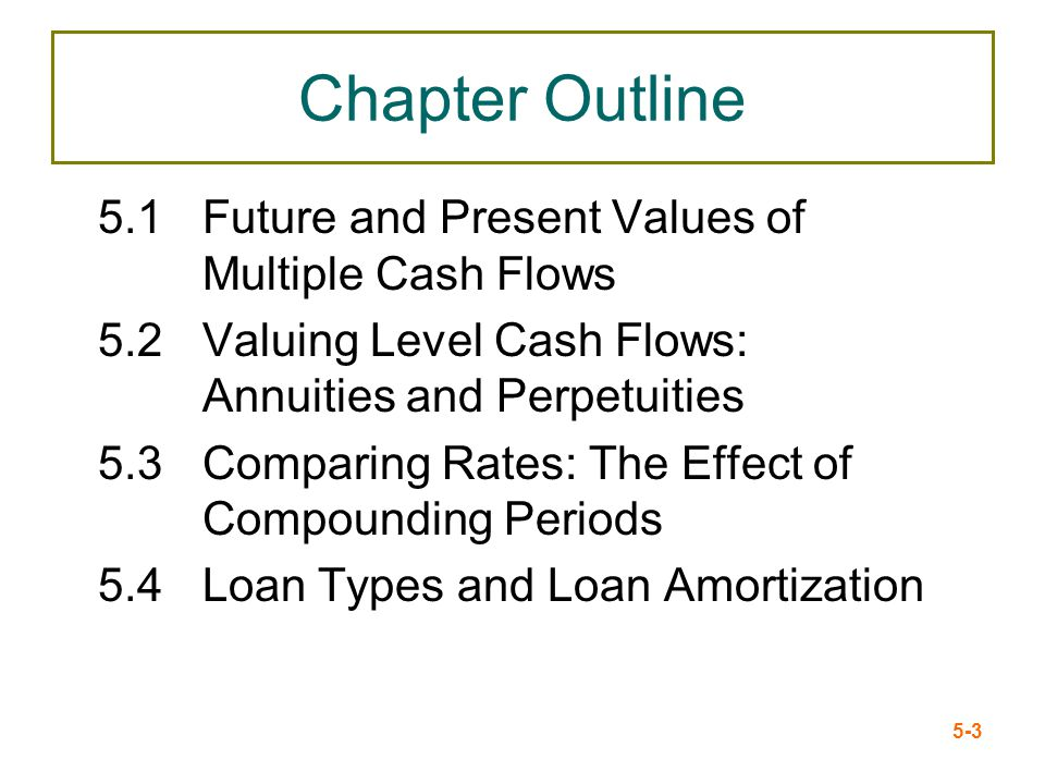 5-3 Chapter Outline 5.1Future and Present Values of Multiple Cash Flows 5.2Valuing Level Cash Flows: Annuities and Perpetuities 5.3Comparing Rates: Th