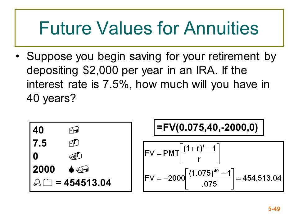 5-49 Future Values for Annuities Suppose you begin saving for your retirement by depositing $2,000 per year in an IRA. If the interest rate is 7.5%, h