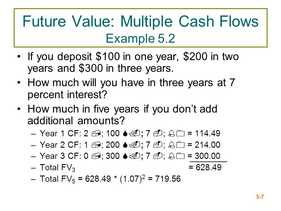 5-7 Future Value: Multiple Cash Flows Example 5.2 If you deposit $100 in one year, $200 in two years and $300 in three years. How much will you have i