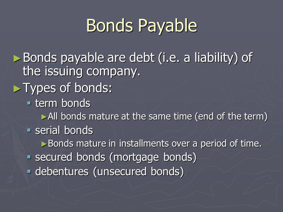 Bonds Payable Bonds payable are debt (i.e. a liability) of the issuing company. Bonds payable are debt (i.e. a liability) of the issuing company. Type