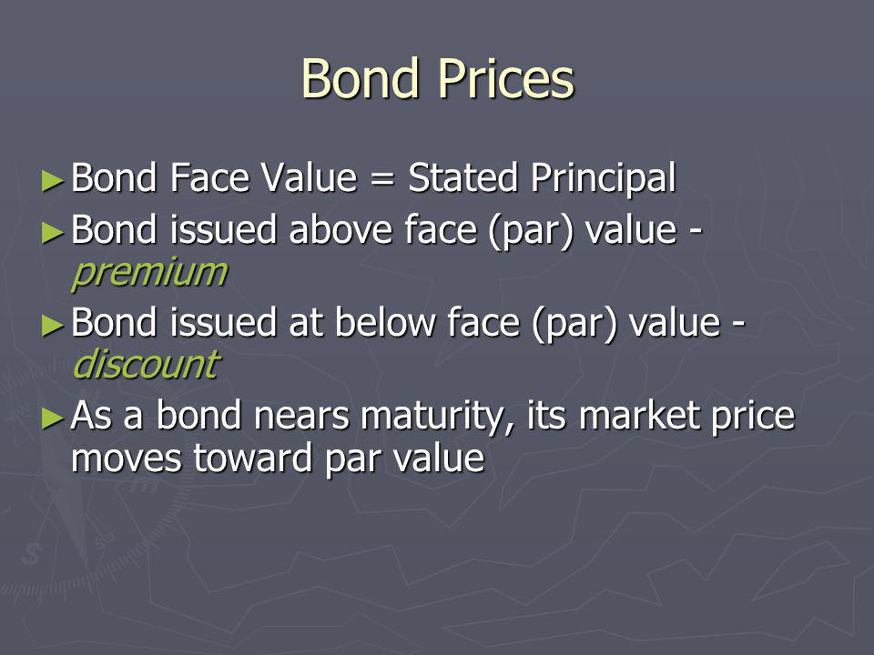 Bond Prices Bond Face Value = Stated Principal Bond Face Value = Stated Principal Bond issued above face (par) value - premium Bond issued above face