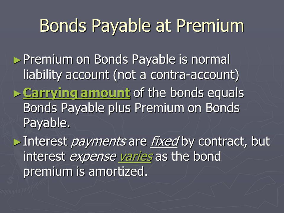 Bonds Payable at Premium Premium on Bonds Payable is normal liability account (not a contra-account) Premium on Bonds Payable is normal liability acco