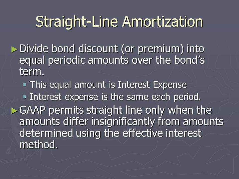 Straight-Line Amortization Divide bond discount (or premium) into equal periodic amounts over the bonds term. Divide bond discount (or premium) into e