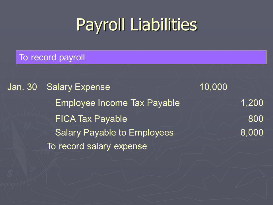 Payroll Liabilities To record payroll Jan. 30Salary Expense10,000 To record salary expense FICA Tax Payable800 Salary Payable to Employees8,000 Employ
