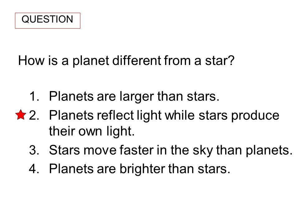 How is a planet different from a star? 1. Planets are larger than stars. 2. Planets reflect light while stars produce their own light. 3. Stars move f
