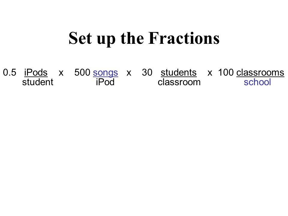 Set up the Fractions 0.5 iPods x 500 songs x 30 students x 100 classrooms student iPod classroom school