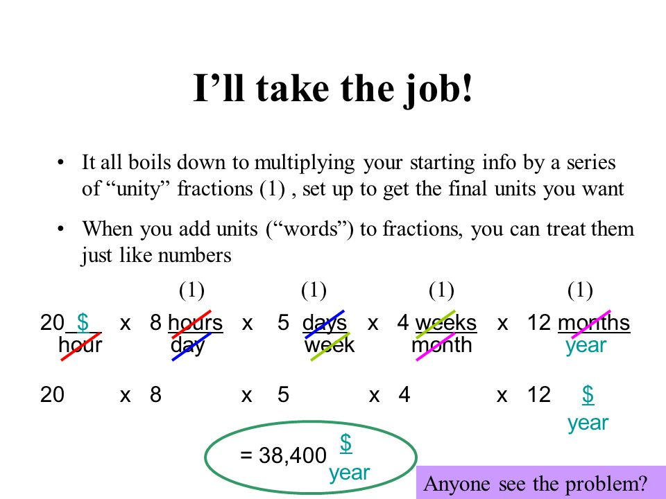Ill take the job! It all boils down to multiplying your starting info by a series of unity fractions (1), set up to get the final units you want When