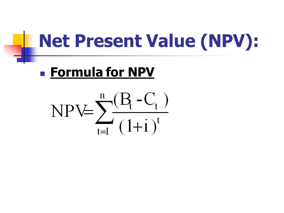 Net Present Value (NPV): Formula for NPV