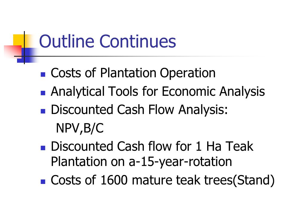 Outline Continues Costs of Plantation Operation Analytical Tools for Economic Analysis Discounted Cash Flow Analysis: NPV,B/C Discounted Cash flow for