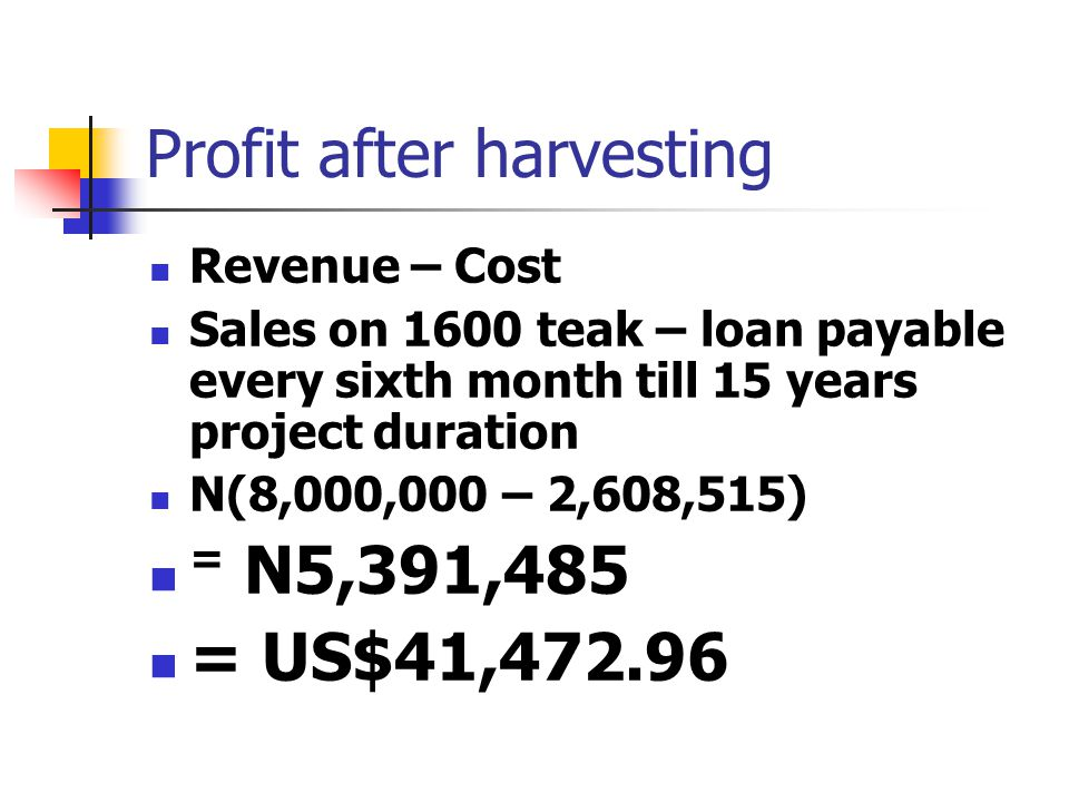 Profit after harvesting Revenue – Cost Sales on 1600 teak – loan payable every sixth month till 15 years project duration N(8,000,000 – 2,608,515) = N