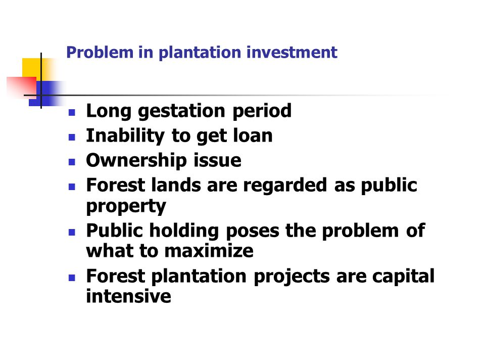 Problem in plantation investment Long gestation period Inability to get loan Ownership issue Forest lands are regarded as public property Public holdi