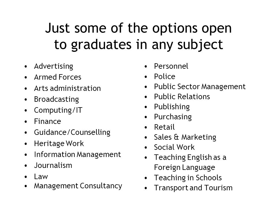 Just some of the options open to graduates in any subject Advertising Armed Forces Arts administration Broadcasting Computing/IT Finance Guidance/Counselling Heritage Work Information Management Journalism Law Management Consultancy Personnel Police Public Sector Management Public Relations Publishing Purchasing Retail Sales & Marketing Social Work Teaching English as a Foreign Language Teaching in Schools Transport and Tourism