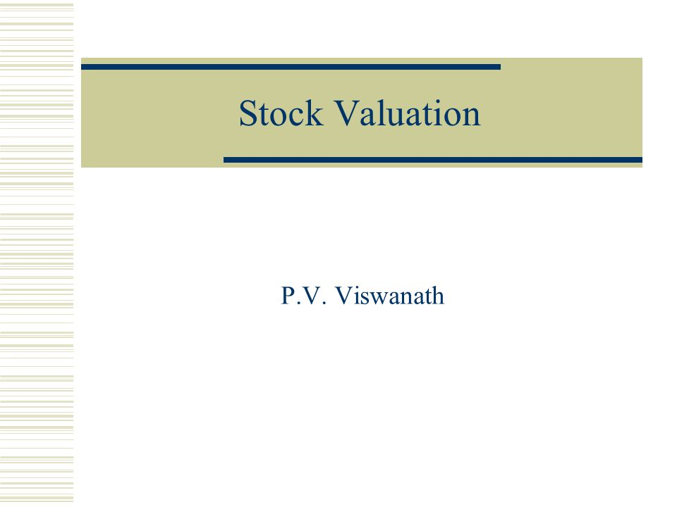 Stock Valuation P.V. Viswanath