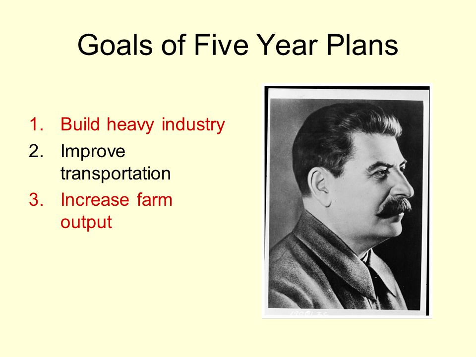 Goals of Five Year Plans 1.Build heavy industry 2.Improve transportation 3.Increase farm output