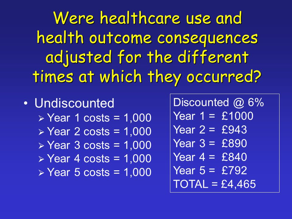 Were healthcare use and health outcome consequences adjusted for the different times at which they occurred.