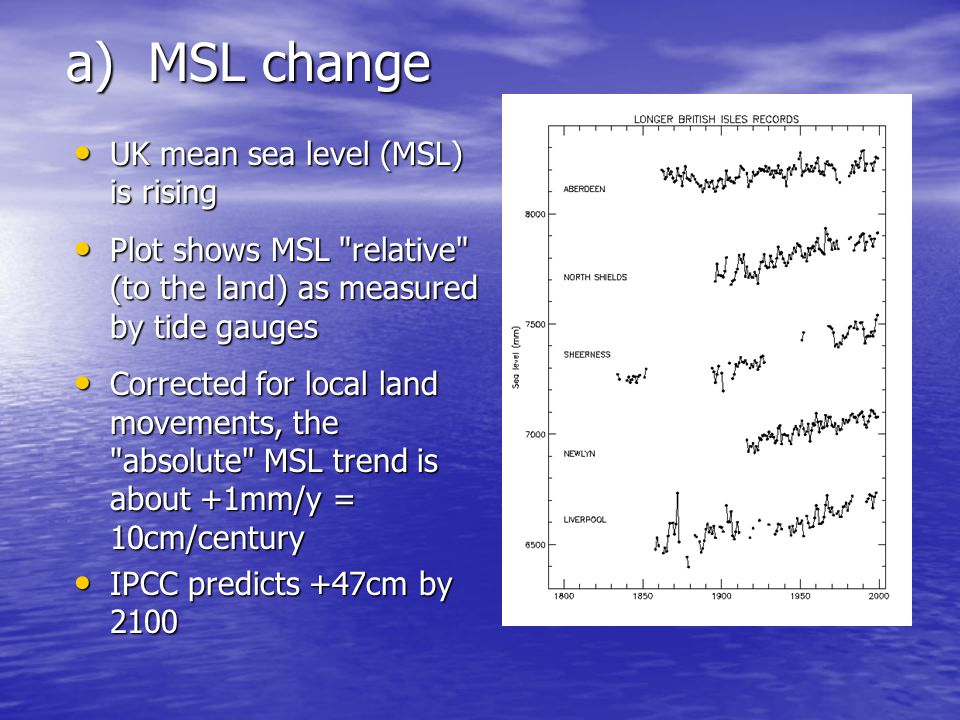 a) MSL change UK mean sea level (MSL) is rising UK mean sea level (MSL) is rising Plot shows MSL relative (to the land) as measured by tide gauges Plot shows MSL relative (to the land) as measured by tide gauges Corrected for local land movements, the absolute MSL trend is about +1mm/y = 10cm/century Corrected for local land movements, the absolute MSL trend is about +1mm/y = 10cm/century IPCC predicts +47cm by 2100 IPCC predicts +47cm by 2100
