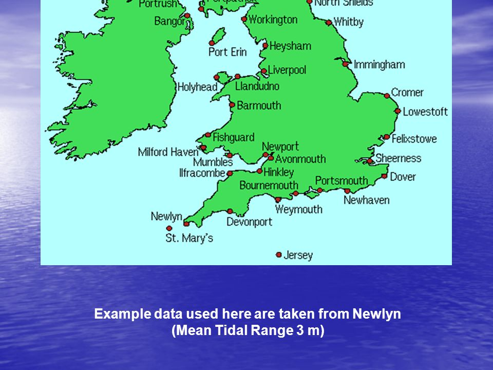 Example data used here are taken from Newlyn (Mean Tidal Range 3 m)