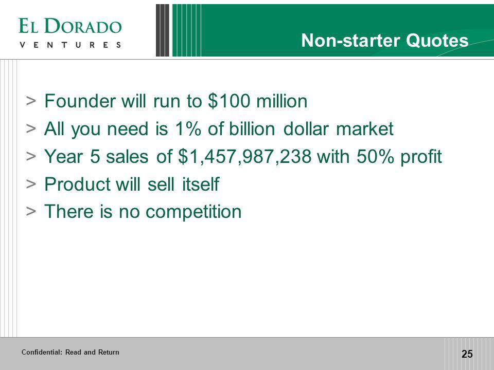 Confidential: Read and Return 25 Non-starter Quotes >Founder will run to $100 million >All you need is 1% of billion dollar market >Year 5 sales of $1