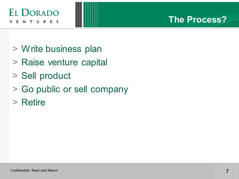 Confidential: Read and Return 7 The Process? >Write business plan >Raise venture capital >Sell product >Go public or sell company >Retire