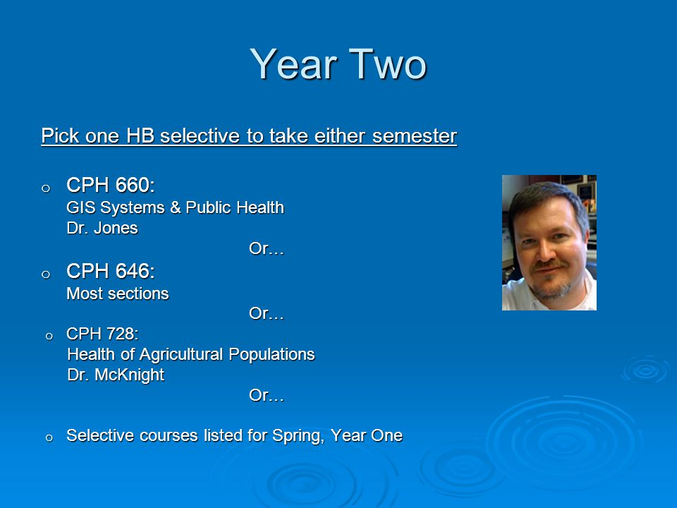 Year Two Pick one HB selective to take either semester o CPH 660: GIS Systems & Public Health Dr.