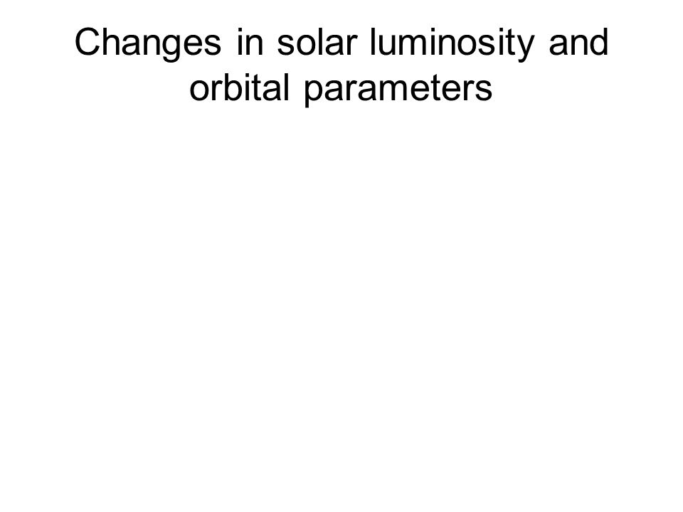 Changes in solar luminosity and orbital parameters
