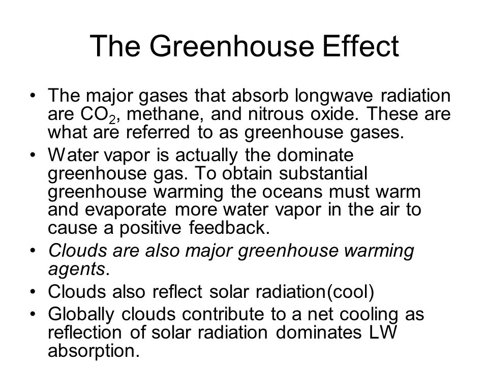 The Greenhouse Effect The major gases that absorb longwave radiation are CO 2, methane, and nitrous oxide. These are what are referred to as greenhous