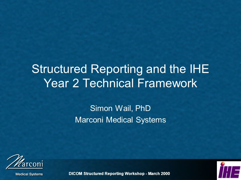 DICOM Structured Reporting Workshop - March 2000 Report Repository Receives reports from Report Manager Supports Basic Text SR objects Supports Enhanced SR objects Responds to Query and Retrieve requests from Report Reader Sends reports to Report Reader