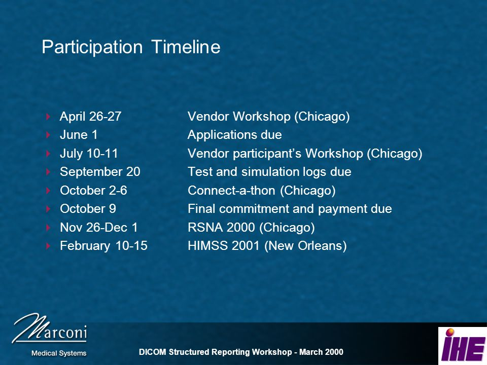 DICOM Structured Reporting Workshop - March 2000 Participation Timeline April 26-27Vendor Workshop (Chicago) June 1Applications due July 10-11Vendor participants Workshop (Chicago) September 20Test and simulation logs due October 2-6Connect-a-thon (Chicago) October 9Final commitment and payment due Nov 26-Dec 1RSNA 2000 (Chicago) February 10-15HIMSS 2001 (New Orleans)