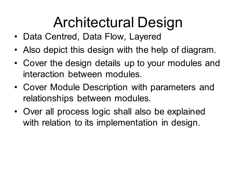 Architectural Design Data Centred, Data Flow, Layered Also depict this design with the help of diagram. Cover the design details up to your modules an
