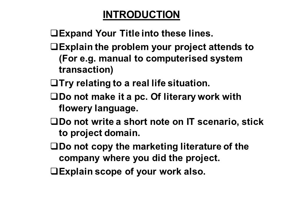 INTRODUCTION Expand Your Title into these lines. Explain the problem your project attends to (For e.g. manual to computerised system transaction) Try