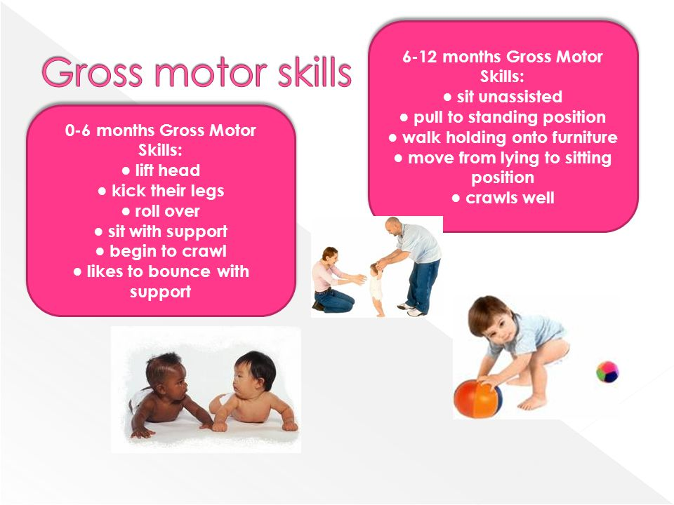0-6 months Gross Motor Skills: lift head kick their legs roll over sit with support begin to crawl likes to bounce with support 0-6 months Gross Motor