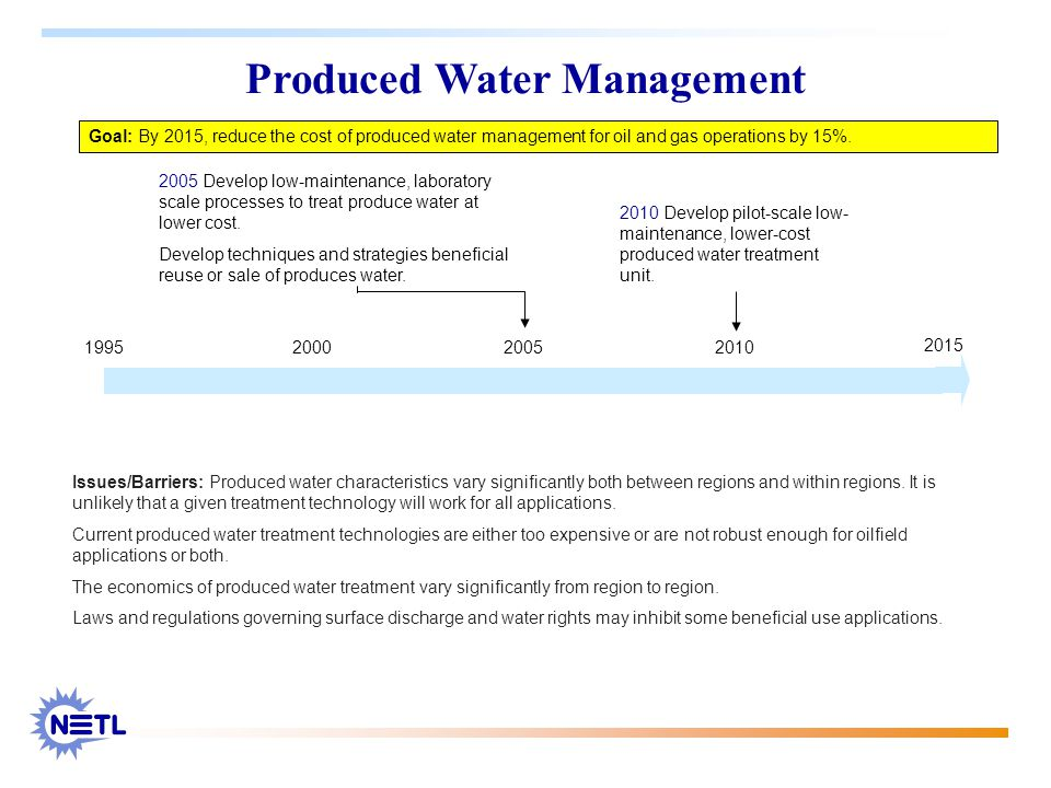 2005 Develop low-maintenance, laboratory scale processes to treat produce water at lower cost. Develop techniques and strategies beneficial reuse or s