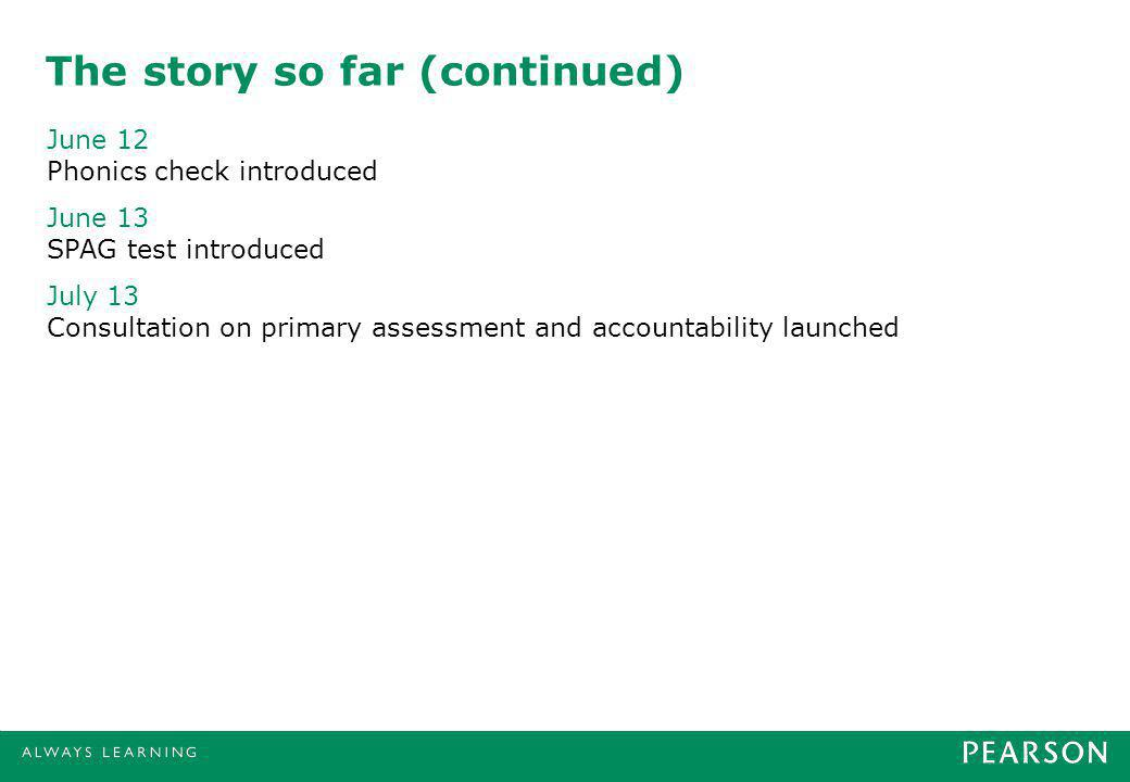 The story so far (continued) June 12 Phonics check introduced June 13 SPAG test introduced July 13 Consultation on primary assessment and accountability launched