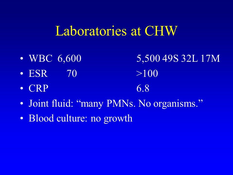 Laboratories at CHW WBC 6,600 5,500 49S 32L 17M ESR70 >100 CRP6.8 Joint fluid: many PMNs. No organisms. Blood culture: no growth