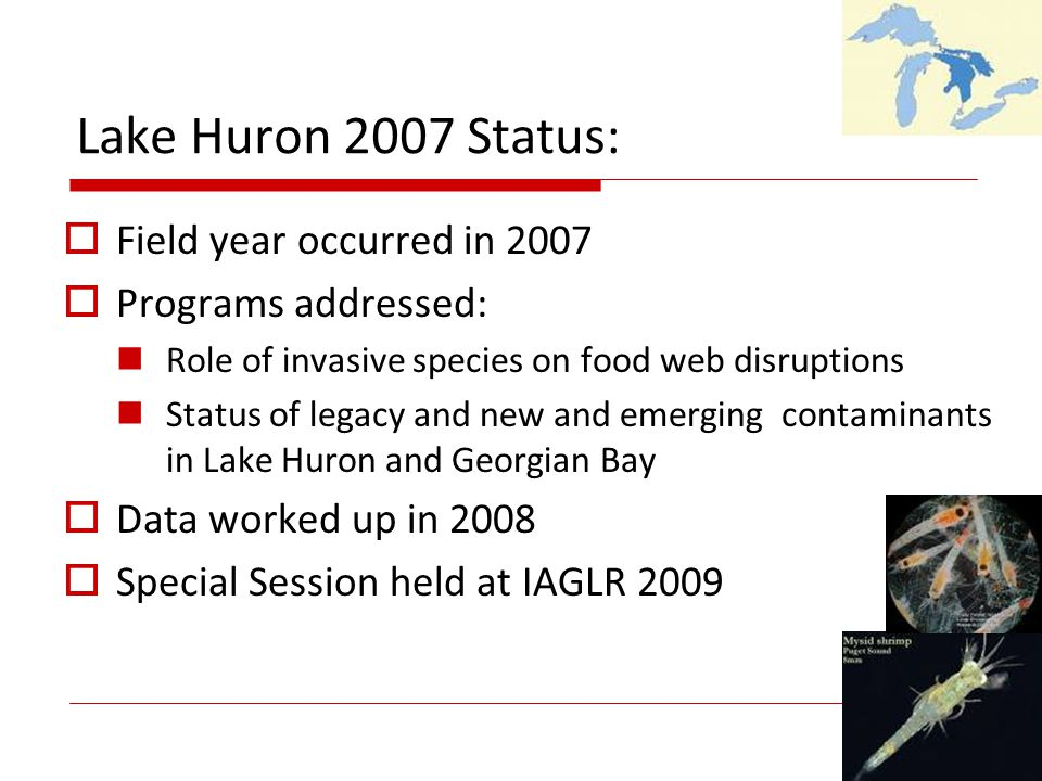 Lake Huron 2007 Status: Field year occurred in 2007 Programs addressed: Role of invasive species on food web disruptions Status of legacy and new and emerging contaminants in Lake Huron and Georgian Bay Data worked up in 2008 Special Session held at IAGLR 2009