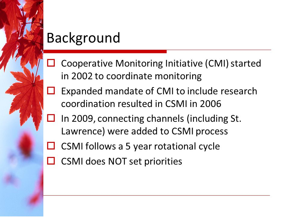 Background Cooperative Monitoring Initiative (CMI) started in 2002 to coordinate monitoring Expanded mandate of CMI to include research coordination resulted in CSMI in 2006 In 2009, connecting channels (including St.