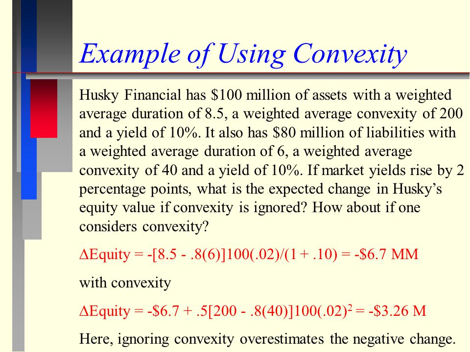 Example of Using Convexity Husky Financial has $100 million of assets with a weighted average duration of 8.5, a weighted average convexity of 200 and