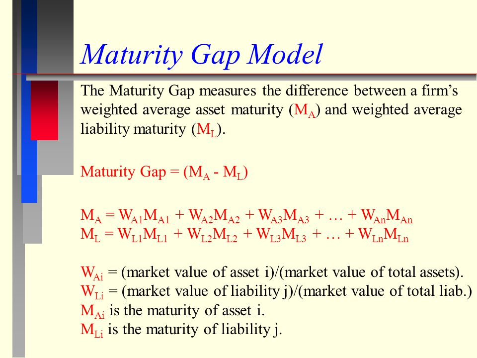 Maturity Gap Model The Maturity Gap measures the difference between a firms weighted average asset maturity (M A ) and weighted average liability matu