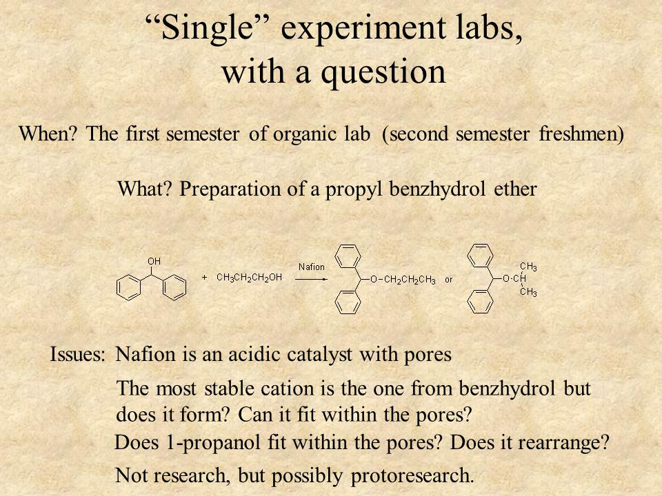 Single experiment labs, with a question What.