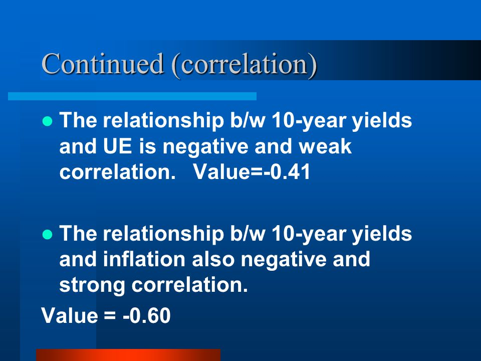 Continued (correlation) The relationship b/w 10-year yields and UE is negative and weak correlation.
