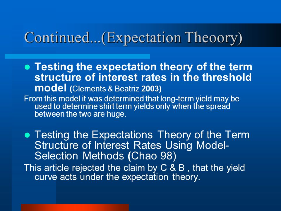Continued...(Expectation Theoory) Testing the expectation theory of the term structure of interest rates in the threshold model (Clements & Beatriz 20