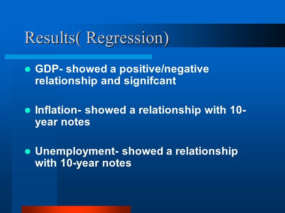 Results( Regression) GDP- showed a positive/negative relationship and signifcant Inflation- showed a relationship with 10- year notes Unemployment- showed a relationship with 10-year notes