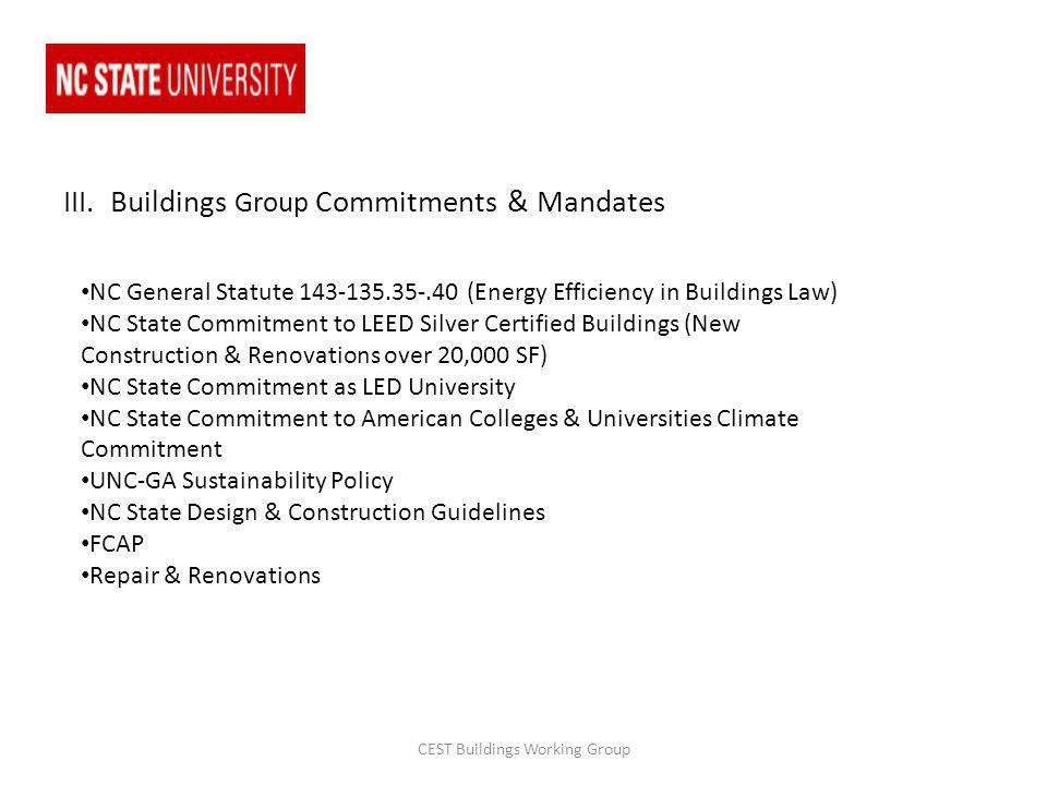 III. Buildings Group Commitments & Mandates NC General Statute 143-135.35-.40 (Energy Efficiency in Buildings Law) NC State Commitment to LEED Silver