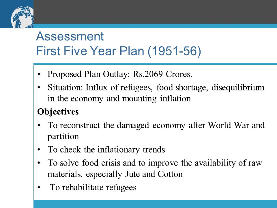 Assessment First Five Year Plan (1951-56) Proposed Plan Outlay: Rs.2069 Crores.