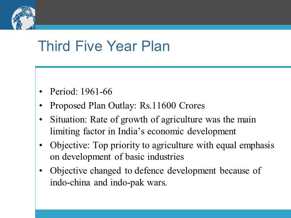 Third Five Year Plan Period: 1961-66 Proposed Plan Outlay: Rs.11600 Crores Situation: Rate of growth of agriculture was the main limiting factor in In