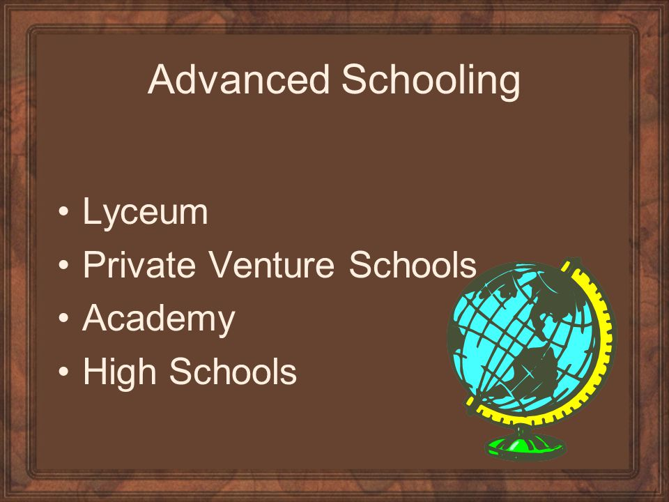 Advanced Schooling Lyceum Private Venture Schools Academy High Schools