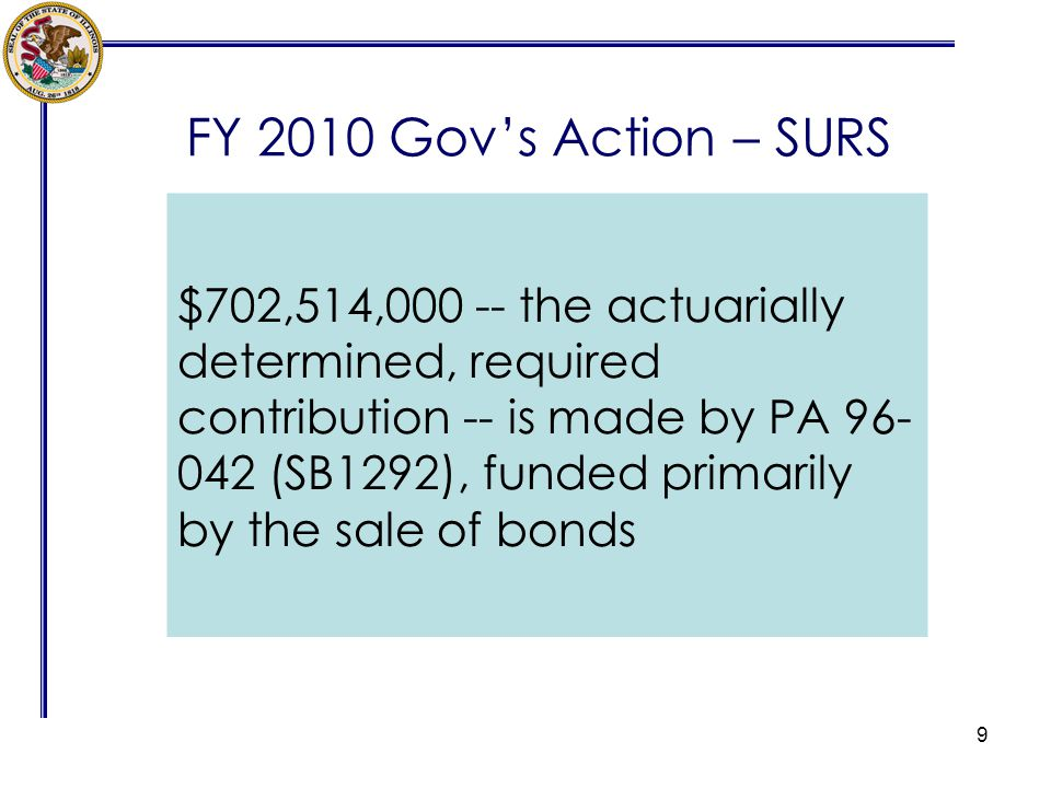 FY 2010 Govs Action – SURS 9 $702,514,000 -- the actuarially determined, required contribution -- is made by PA 96- 042 (SB1292), funded primarily by