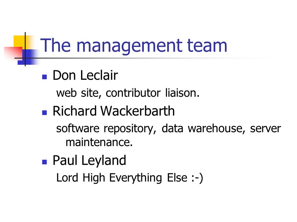 The management team Don Leclair web site, contributor liaison.