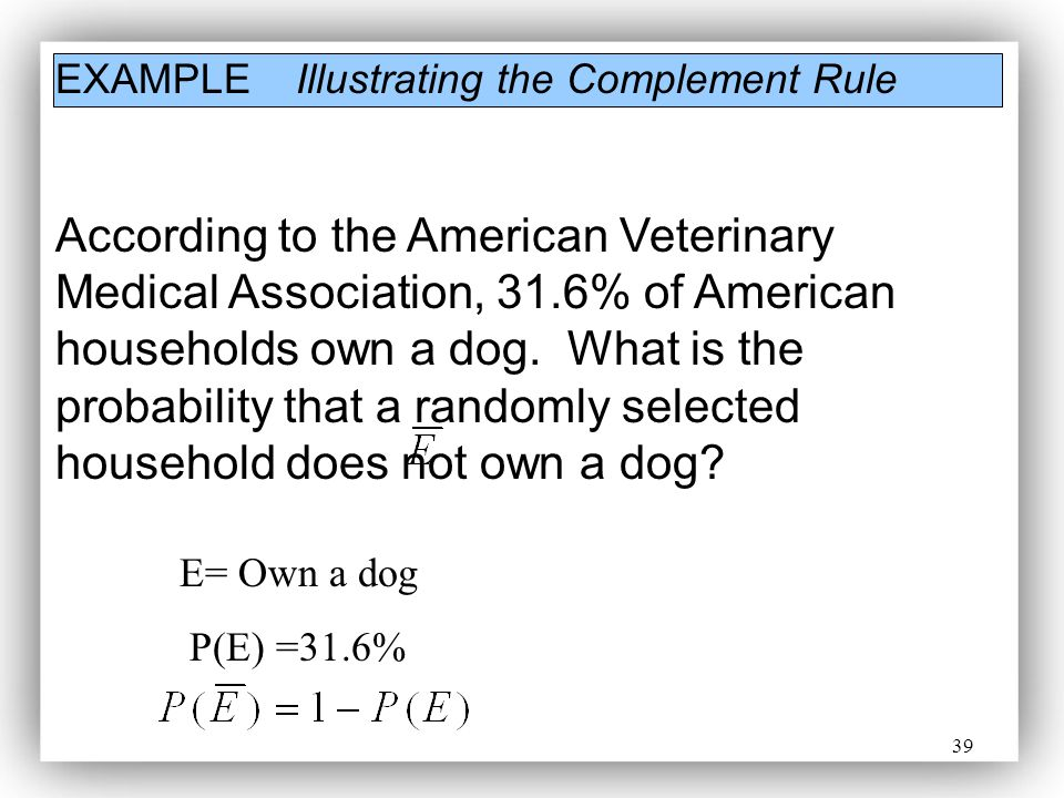 39 EXAMPLE Illustrating the Complement Rule According to the American Veterinary Medical Association, 31.6% of American households own a dog. What is